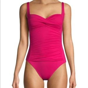 La Blanca Ruched Sweetheart One-Piece - Pink - 6